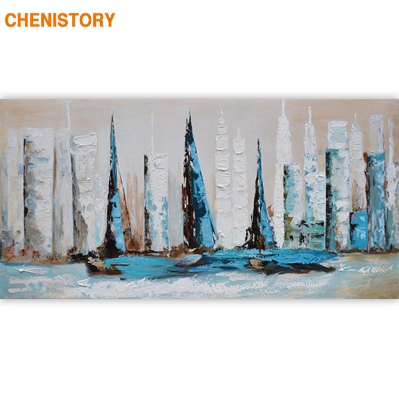 CHENISTORY Frame Abstract Sailing Boat DIY Painting By Numbers Landscape Modern Wall Art Canvas Painting For Living Room Artwork