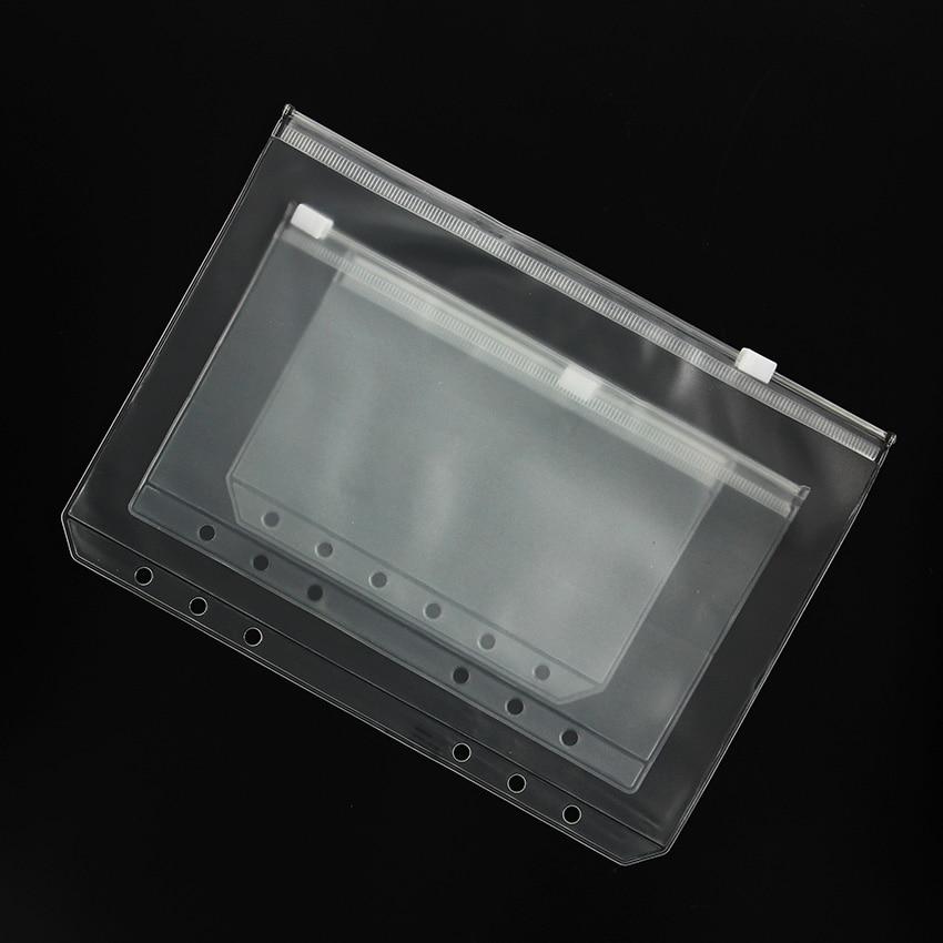 3PCS/set PVC Waterproof Filofax Zipper Bag Concise Planner Spiral Storage Card Bag Filing Products