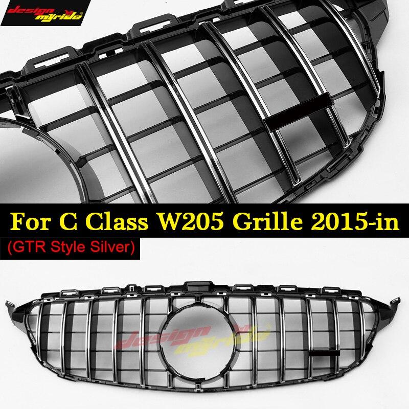 Rejilla deportiva W205 Clase C estilo GTS sin cámara ABS plateado C180 C200 C250 C300 C350 C63 parrillas sin señal 15-18
