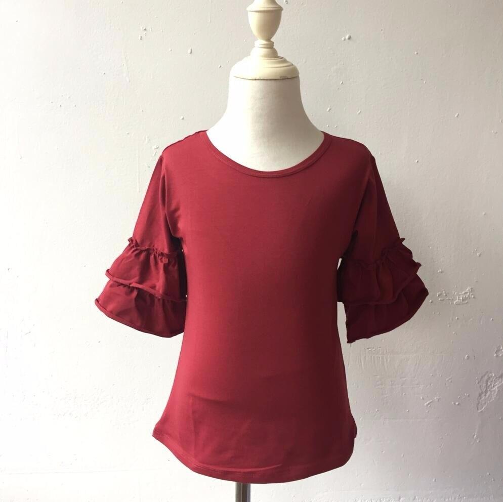 بلوزة من الدانتيل, أحدث مصمم من القطن ذو قماش عريض بأكمام 3/4 مكشكشة للخريف