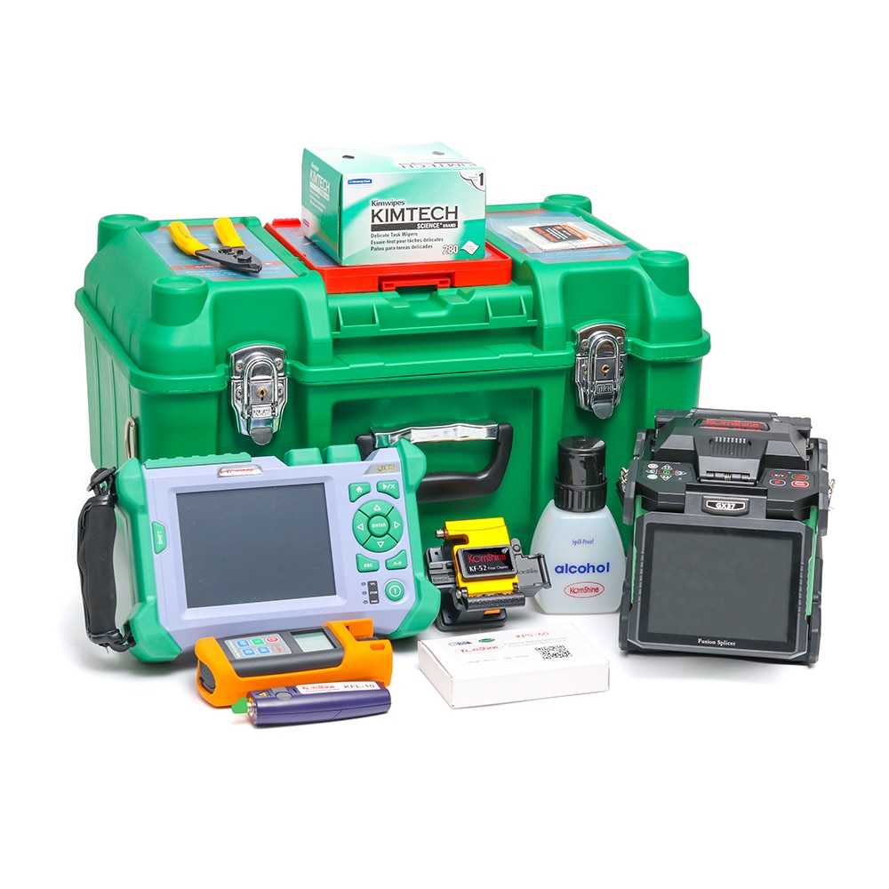 Máquina de empalme por fusión FTTx KOMSHINE GX37 Cleaver + QX50-M 850/1300 nm 18/12dB OTDR + OPM + fuente láser + VFL
