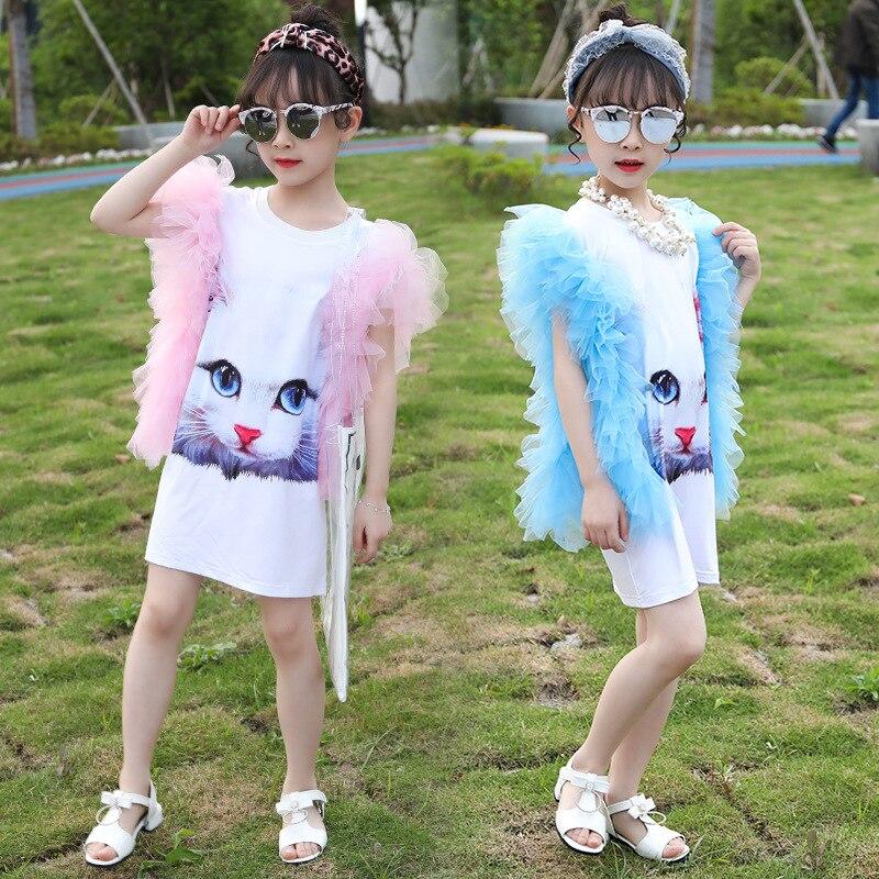 Children Wear Girls Summer Sleeveless Dress Girls Digital Cartoon Cat Dress Children Elegant Dress Todler Girl Clothing 4-12Y