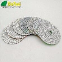 "DIATOOL 7pcs/set 4"" diamond wet flexible polishing pads White bond  for marble granite (8 grits available) Sanding discs"
