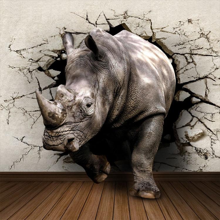 3D Rhinoceros Wallpaper Custom Wall Mural Animal World Photo wallpaper Bedroom Boys Child Bedroom Room decor Living room Hallway