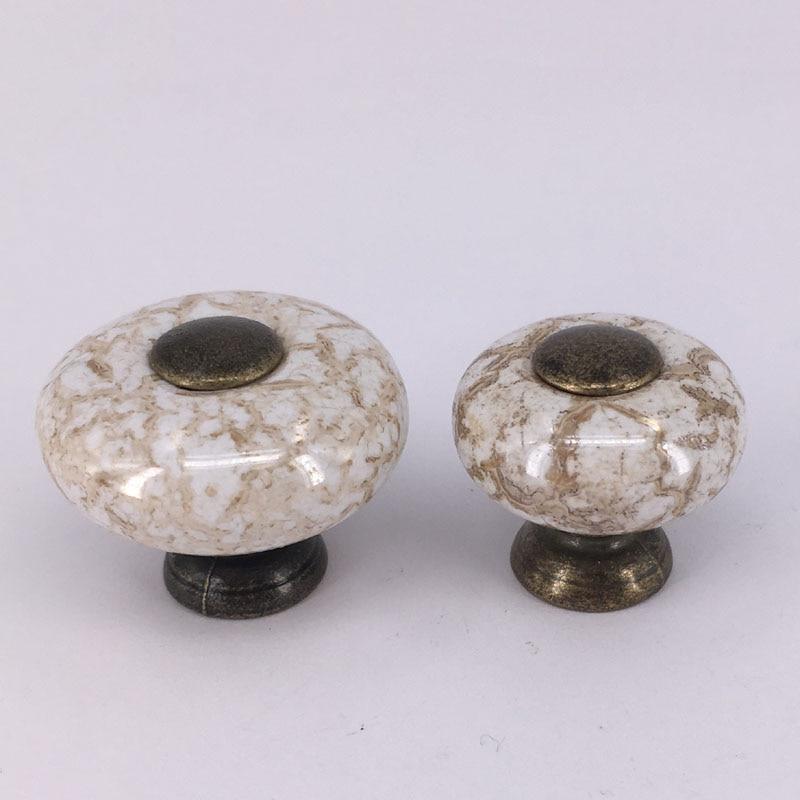 1x perillas de muebles antiguos, perillas de cerámica de veta de mármol de agujero único redondo y tiradores de cajón de puerta de armario de cocina