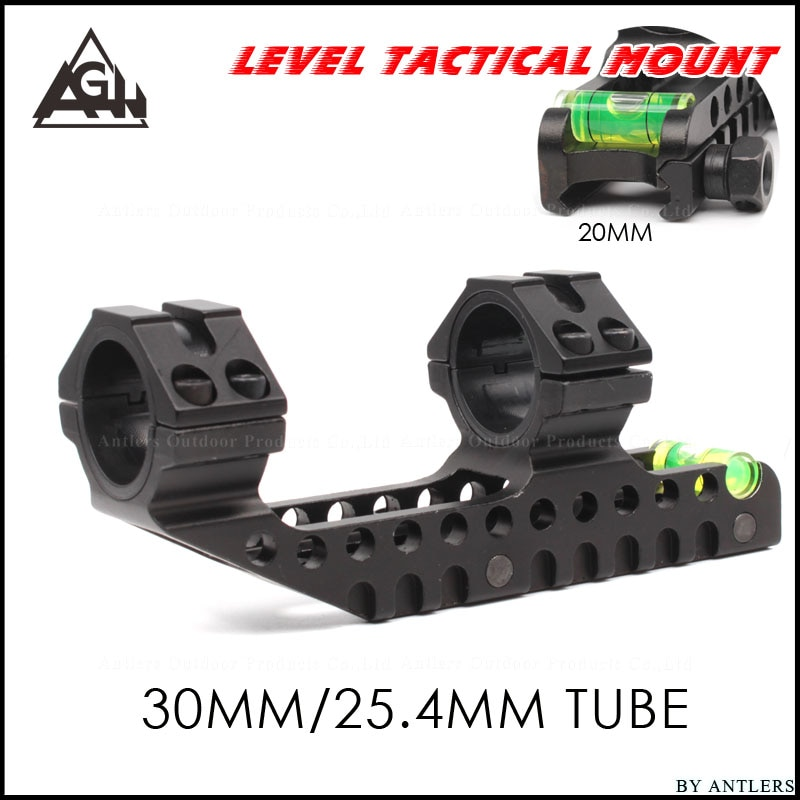 Montura táctica de alcance 25,4mm 30mm diseño de doble anillo voladizo montaje de mira de alta resistencia con nivel de burbuja 20mm Base de riel