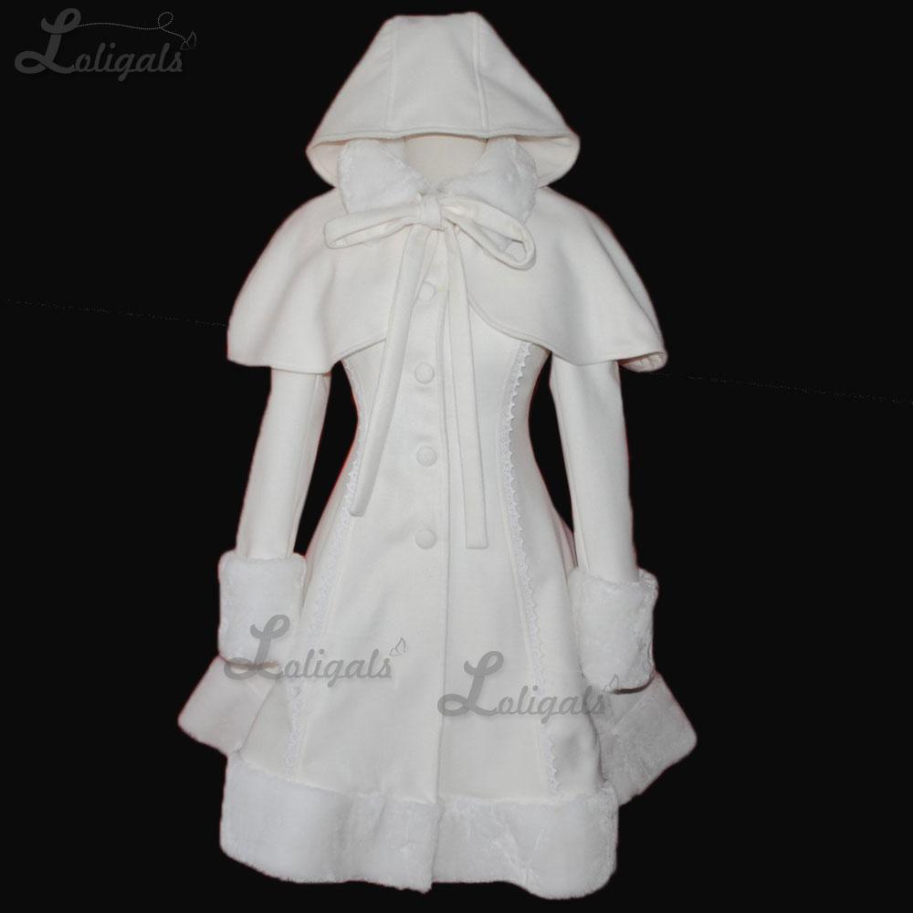 Abrigo largo y cálido para mujer, abrigo de invierno de Lolita blanca...