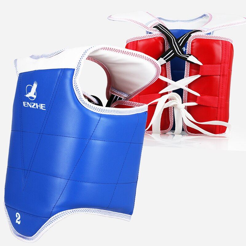 WTF aprobado Taekwondo protector de pecho niños adultos rojo azul Karate Taekwondo protectores chaleco apoyo TKD protección reversible