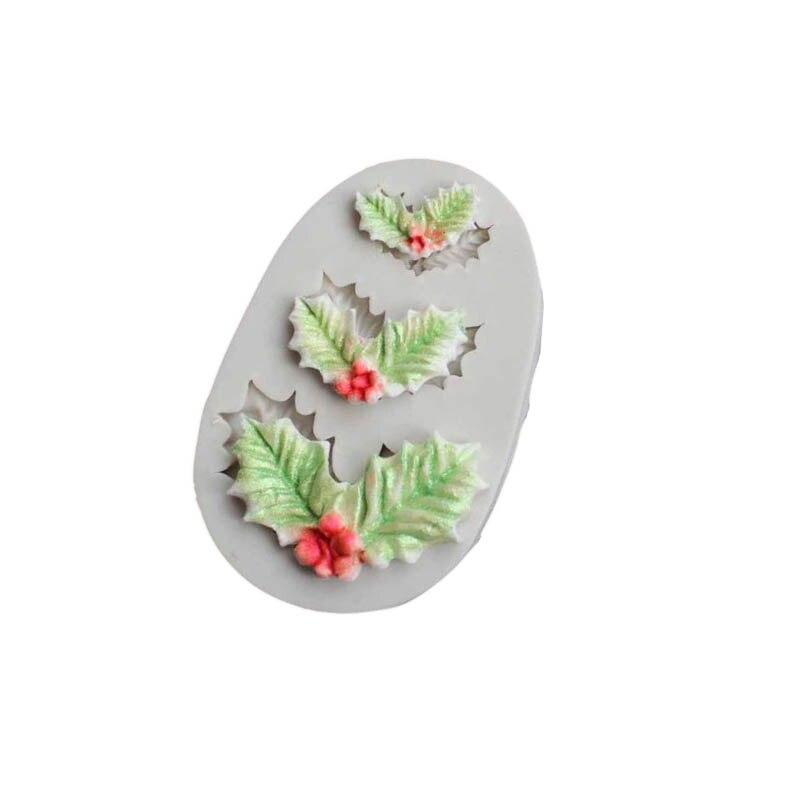 Molde de tarta de silicona con forma de hoja de Rosa navideña, herramientas de decoración de galletas DIY, molde de silicona con forma de hojas 3D para Fondant, molde de jabón