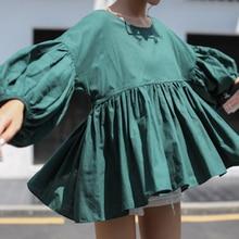 spring autumn puff sleeve ruffle loose cute shirt female all-match slim waist o-neck green shirt top