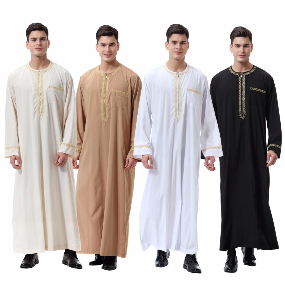 Nuevo vestido Abaya árabe para hombres, caftán de mangas largas musulmanas, vestido de oración para adultos, ropa de hombre pakistaní árabe con cremallera para hombre Jubba Thobe