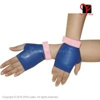 latex short gloves fingerless with bow rubber wrist length mittens fingerless gauntlet hand wear plus size latex gloves st 026