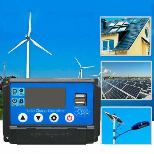 Regulador de Panel Solar 10-60A, controlador de carga MPPT 12V/24V, seguimiento de enfoque automático PWM