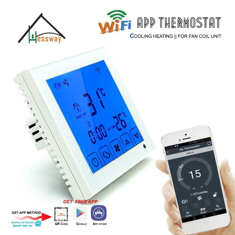 Pantalla táctil LCD, programación semanal, 3 unidades de bobinas de ventilador de velocidad, termostato WIFI para 4 tuberías 2p
