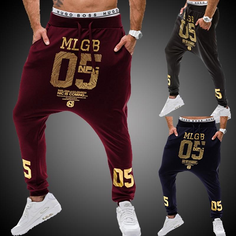 2018 الاتجاه الرجال الملابس البرنز الطباعة الهيب هوب السراويل منخفضة الارتفاع السراويل الصحية M-XXL