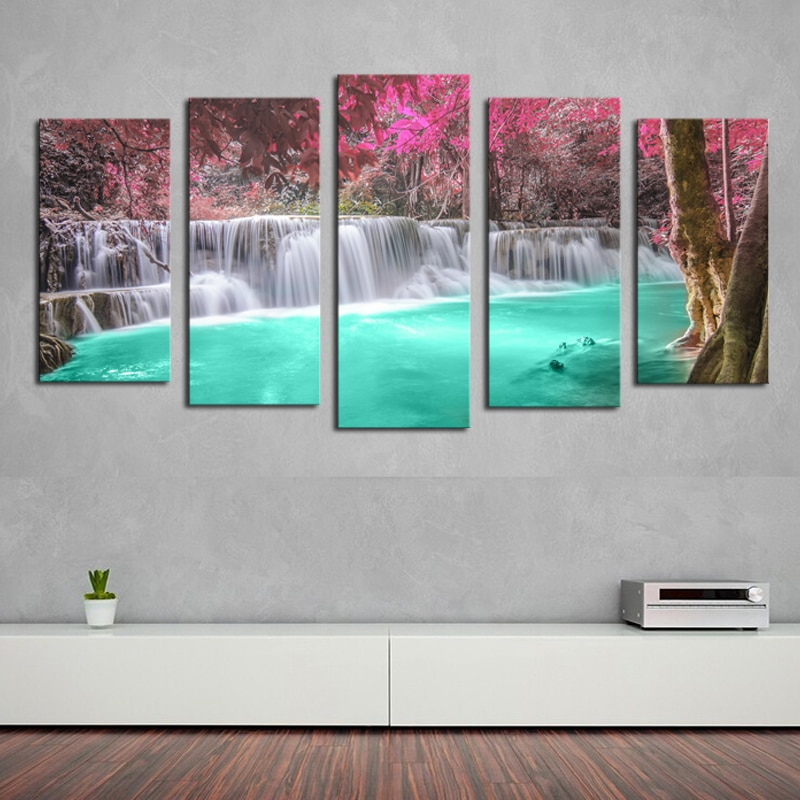 HD Print 5 Panel Waterfall Modern Home Wall Decor Painting Canvas Art Painting Canvas Picture For Home Decor Wall Art (Frame)