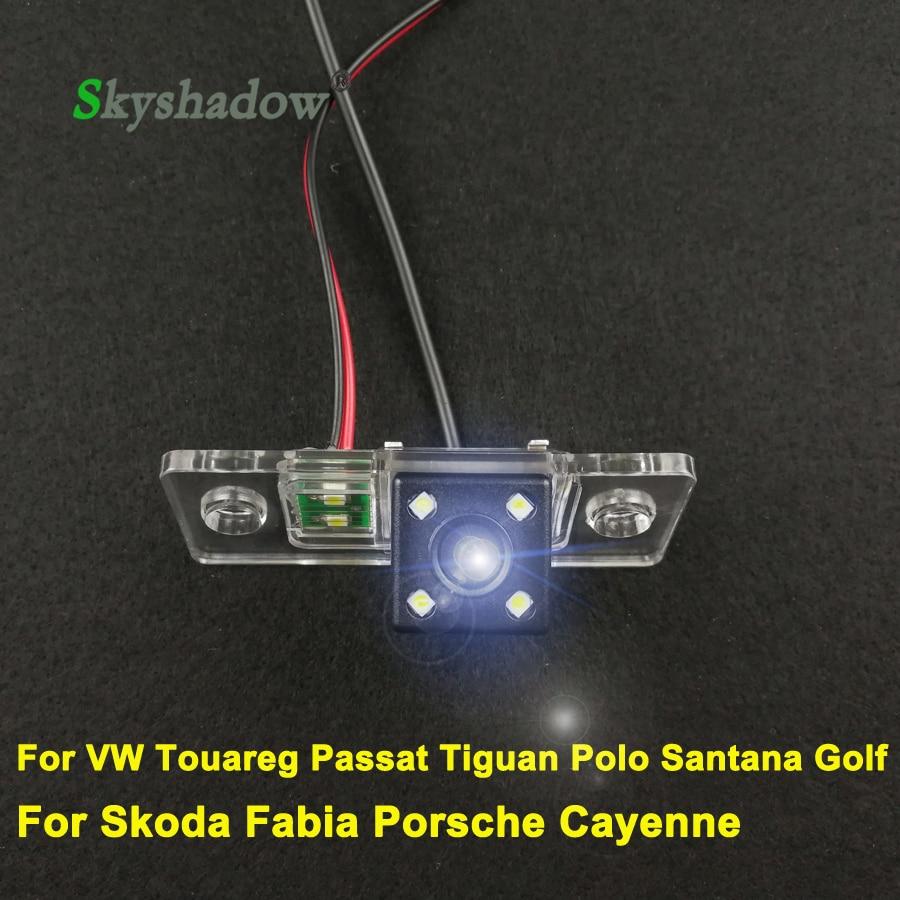 Carro ccd de visão noturna backup câmera visão traseira para vw touareg passat tiguan polo santana golf skoda fabia para porsche cayenne