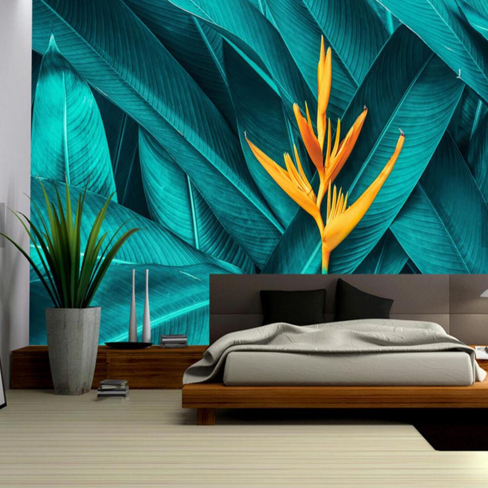 3d Stereoskopischen Tropischen Blatt Floral Wand Papier für Wohnzimmer Tapete Palm Blätter Tropical Regen Wald Wandmalereien Tapeten