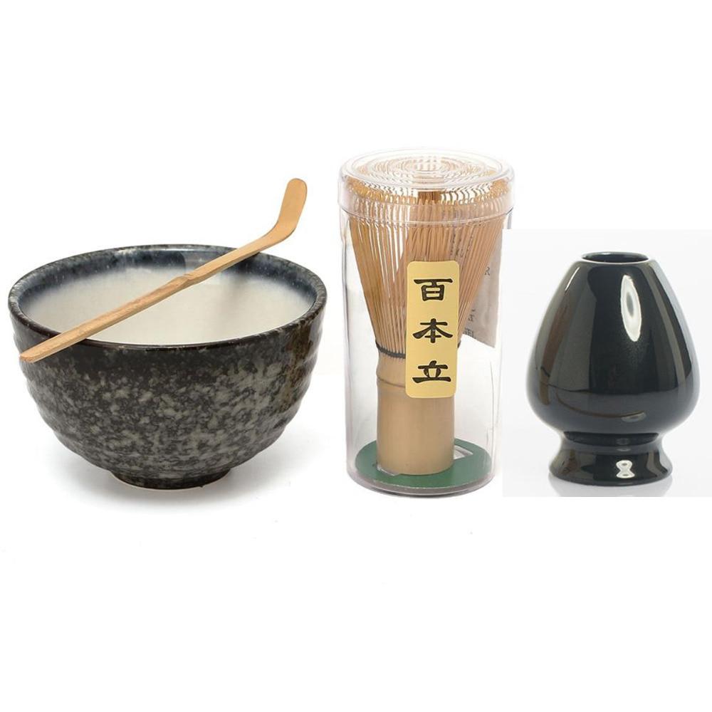 Más Popular Tradicional Set para Matcha Natural batidor de bambú redondo Ceremic Matcha tazón bata titular japonés Matcha regalo juego de té