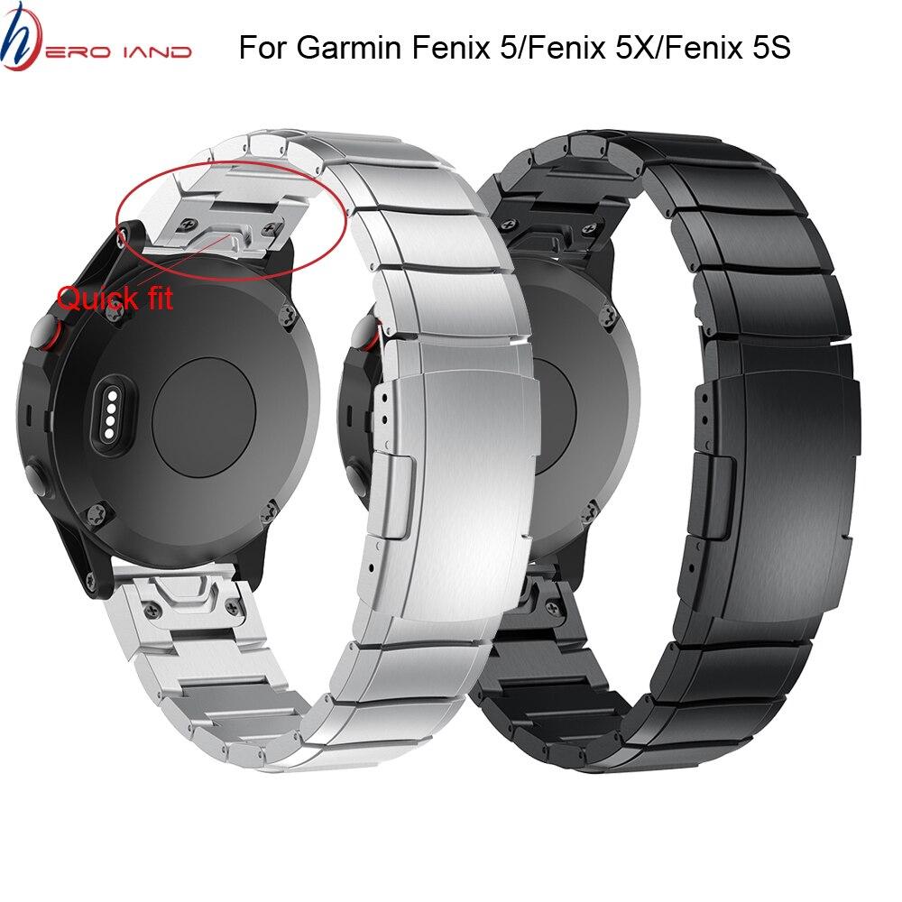 26 22 20 milímetros Quick Release Fácil Ajuste de aço Inoxidável Relógio De Pulso banda Strap para Garmin Fenix 5X5 5S 3 3HR S60 D2 Mk1 relógio Inteligente