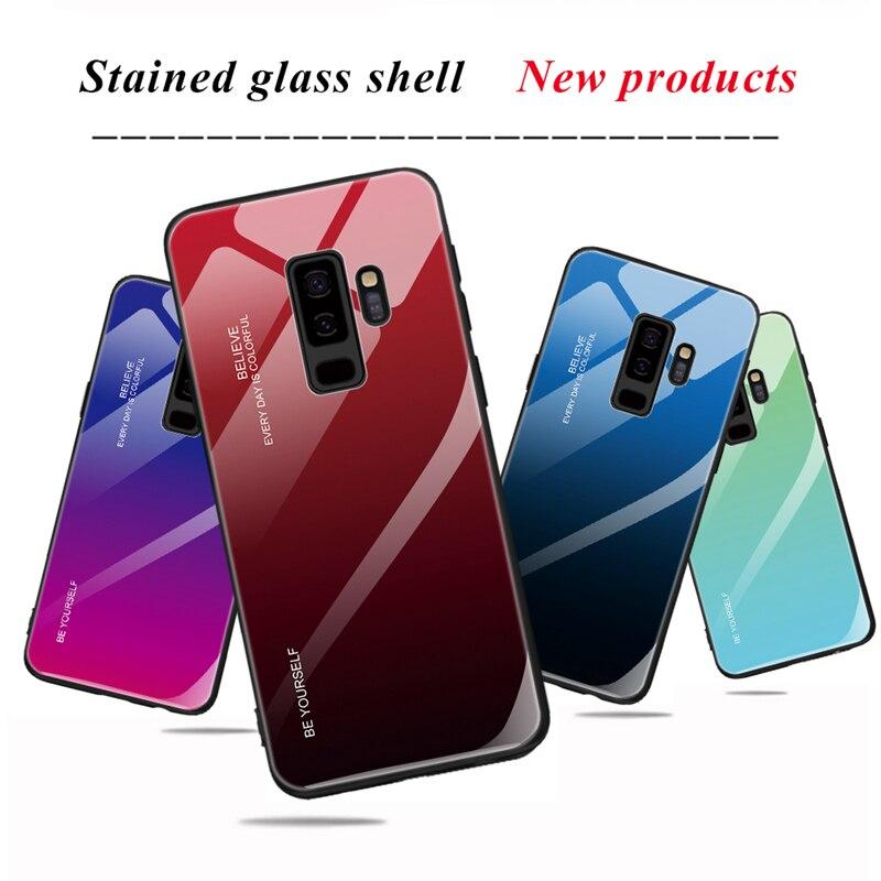 Funda de vidrio templado para el modelo samsung galaxy A7 2018 A750 J6 J4 Plus 2018 S9 S8 Plus Nota 9 8 cubierta de silicona de vidrio de marco de casos Shell