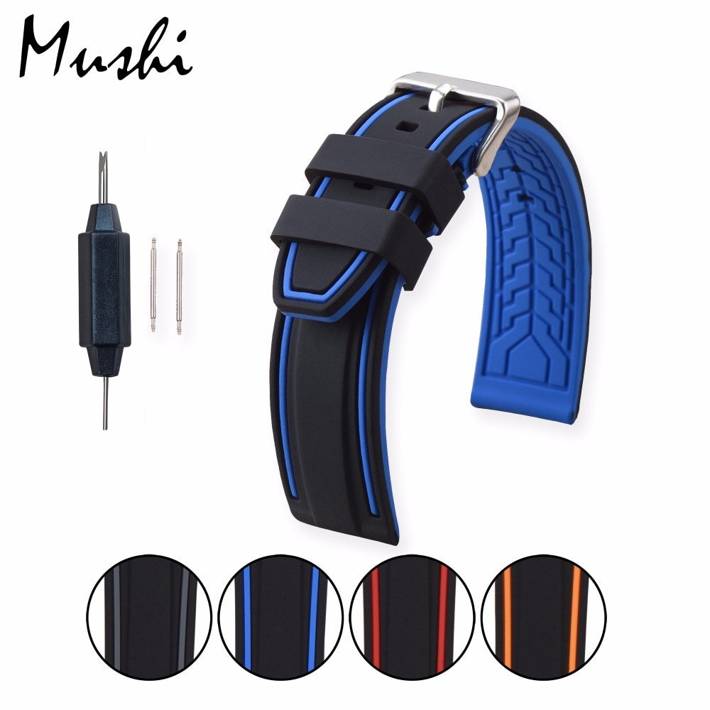 Bracelet de montre MS Silicone noir bracelet de montre plongeur bracelet de montre en caoutchouc avec fermoir à boucle en acier inoxydable brossé 20mm-26mm bracelet de montre