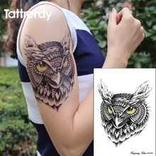 Waterdichte Tijdelijke Tattoo Sticker Op Body Uil Tatoeages Grote Water Transfer Nep Inkt Zwart Flash Tattoo Voor Meisje Vrouwen Mannen HB655