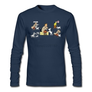 T-shirt Hip Hop Custom Printed T Shirt The Adventures of Tintin 100% Cotton Tees Vintage Style Tintin and His Dog Snowy Man Full