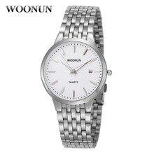 WOONUN Top Brand Luxury Watches Men Waterproof Shockproof  Silver Steel Quartz Men Watches Ultra Thin Wrist Watches For Men