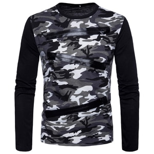 Spring Military Camouflage T-shirt Men New Design Patchwork Decoration Long Sleeve Tshirt Male Army Green Grey
