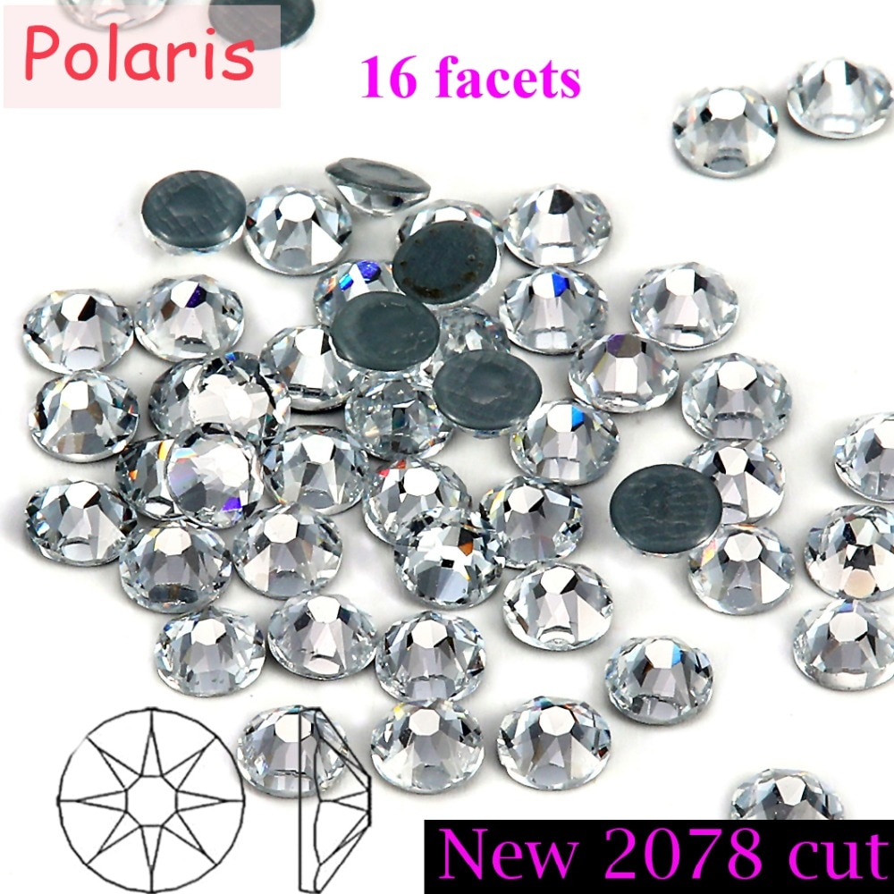 Nuevo 2078 corte 8 + 8 facetas grado AAAAA cristal claro Hotfix hierro en Strass Rhinestone Mainsize ss10 ss16 ss20 ss30 para la mejor obra de arte