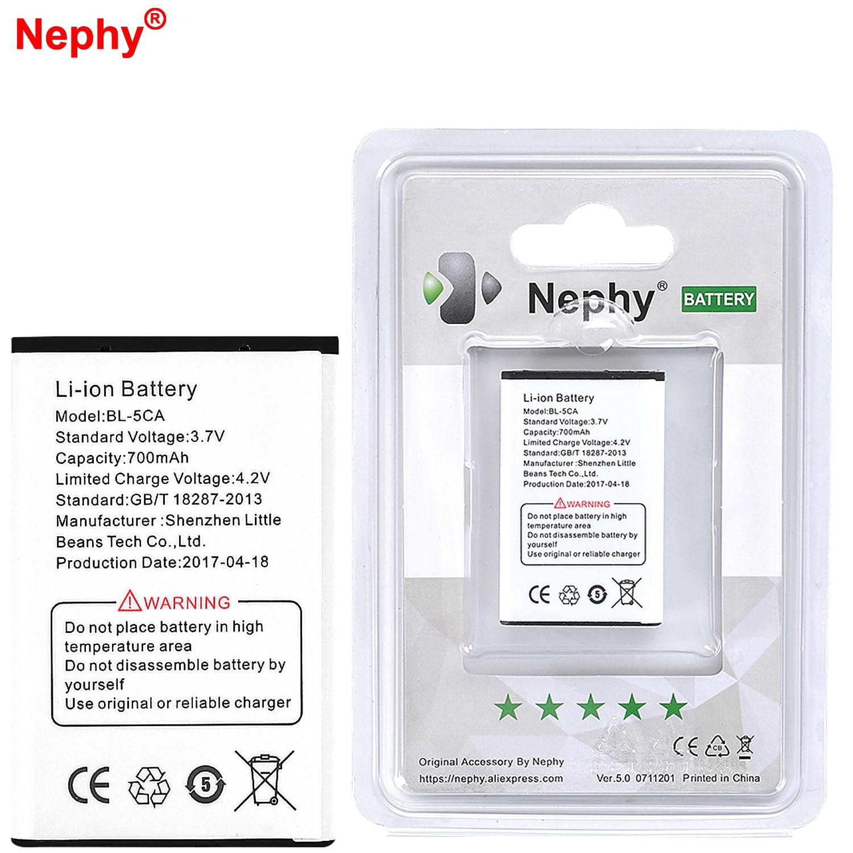 2019 nephy original BL-5CA batería para Nokia 1110, 1200, 2310, 6620, 3108, 2135, 5030, 7600 E60 N70 C2-00 C2-01 X2-01 baterías de teléfono