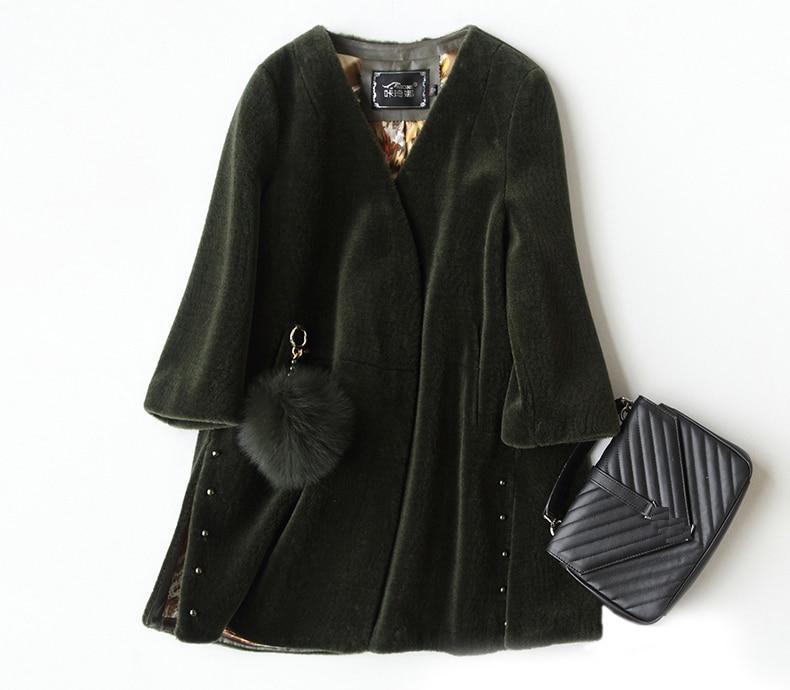 Abrigo de lana 2020 para mujer con corte de oveja, abrigo de piel auténtica de Cachemira para mujer, verde militar, rosa, cuello en V, talla grande