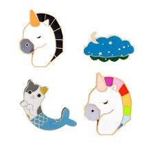 Broche en émail pour filles   Mignon, Unicon, chat cheval coloré Merman Clound étoile lune, broches de veste en Denim, Badges de boutons pour filles