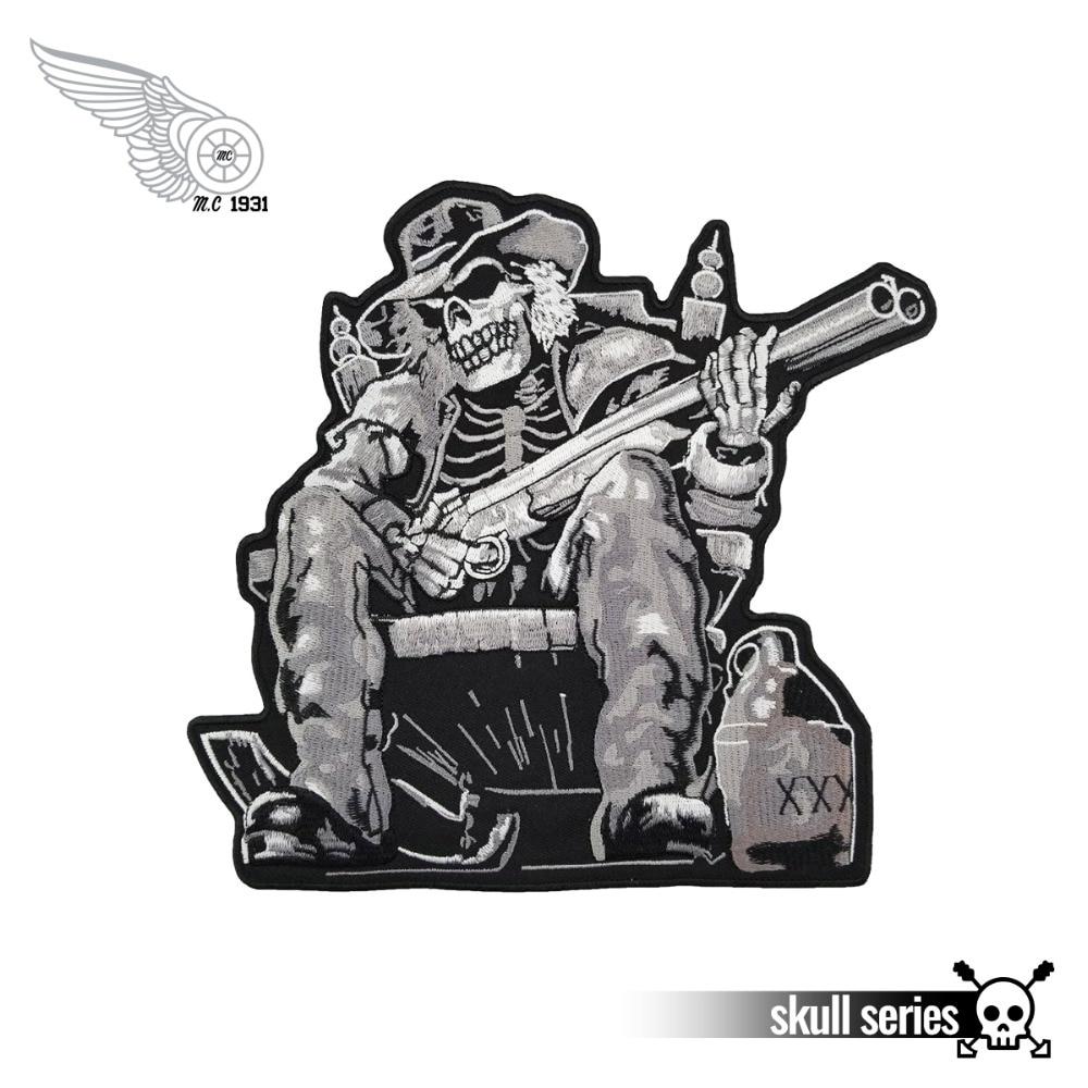 Gilet main avec crâne darme pour moto   Gilet brodé à larrière de la veste, tissu sergé noir, livraison gratuite, bricolage écologique