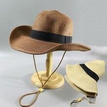Summer Man Foldable Straw Hat Outdoors Cowboy Hat Sandy Beach Panama Hats Big Head Man Plus Size Fedora Hat 58CM 60CM 62CM