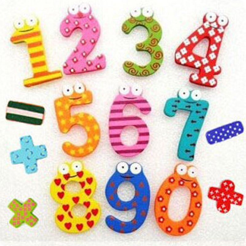 Party Gift Home Decor Multicolor Wooden Fridge Magnet Educational Toy Symbol Alphabet Numbers Cartoo