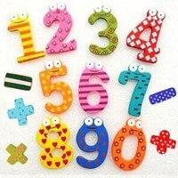 Aimant de refrigerateur en bois multicolore  decoration de maison  cadeau de fete  jouet educatif  symbole Alphabet chiffres  dessin anime pour bebe et enfant