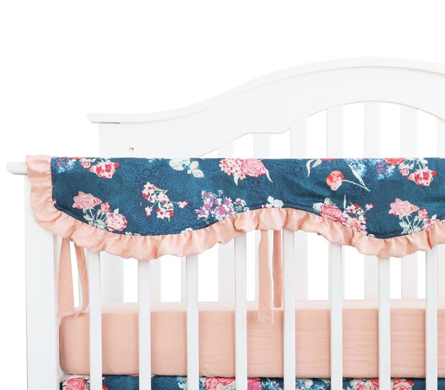 غطاء واقي لسرير الأطفال ، واقي سرير مموج ، حاجز سرير طويل ، غطاء تسنين للأطفال ، قضبان سرير ، زهري داكن