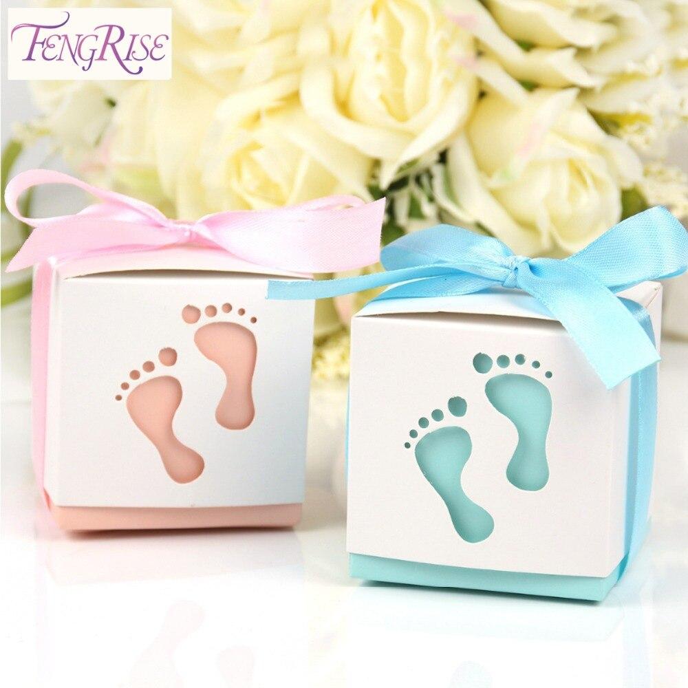 FENGRISE de 10 Uds bebé ducha caja de dulces para cumpleaños partido favores de la boda y regalos chico papel rosa decoración fiesta suministros