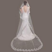 Voile de mariage nouveau 2017 en gros 100% vraies Photos bord de dentelle long voile cathédrale/accessoires/voile 3 M/tête voile de mariée Vail