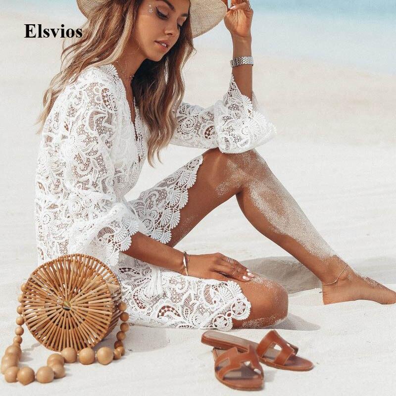 Elsvios 2019 Summer Women V-Neck Sundress Sexy Off Shoulder Short Sleeve Dress Elegant Femme Floral Print Long Beach Dresses