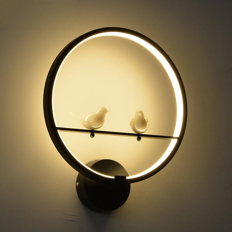Moderna y creativa lámpara LED de pared para dormitorio junto a dos pájaros, pared interior, sala de estar, comedor, decoración de iluminación