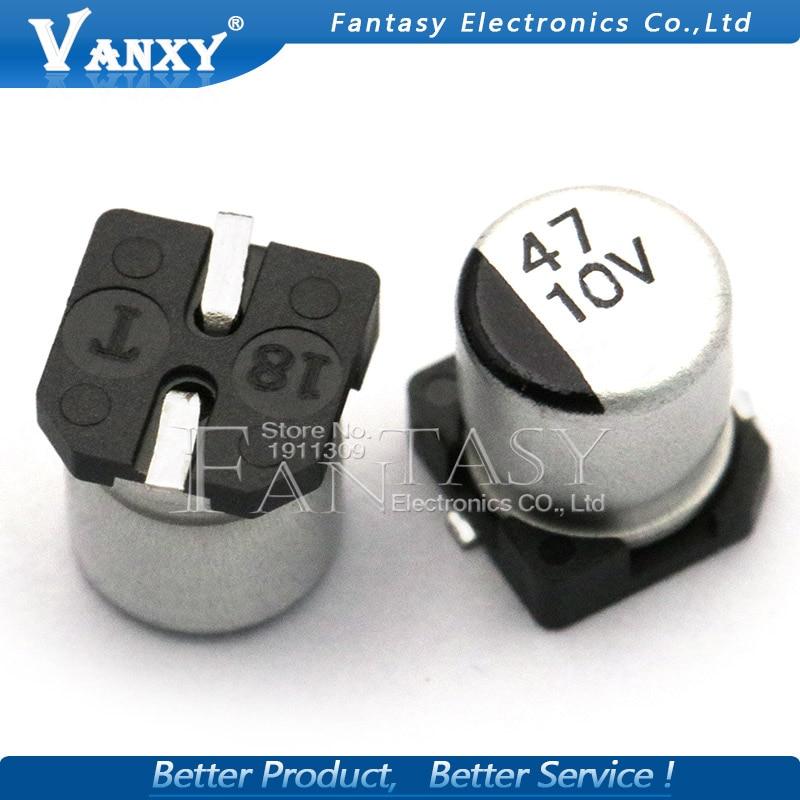 10 шт. электролитический конденсатор 10v47uf 6,3*5,5 мм SMD алюминиевый электролитический конденсатор 47 мкФ 10В