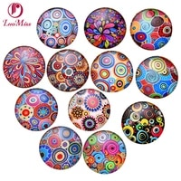 24pcs 14mm coloured drawing cartoon pattern round handmade photo glass cabochons glass dome cover diy ornament beads