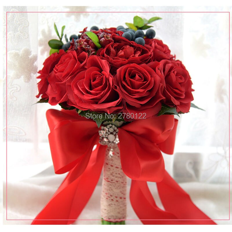 2020 Wedding Flowers Bridal Bouquets Red Artificial Rose Luxury Handmade Bouquet Beach Wedding Bling Brides Ramo De Novia