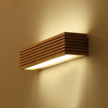 Настенный светильник из дерева и дерева, светодиодный светильник в японском стиле для спальни, ванной комнаты