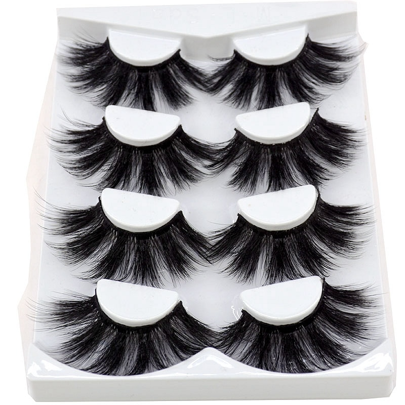 2020 nuevo 4 pares 3D pelo de visón pestañas postizas criss-cross Wispy cross mullido 25mm extensión pestañas hechas a mano utensilios de maquillaje para ojos