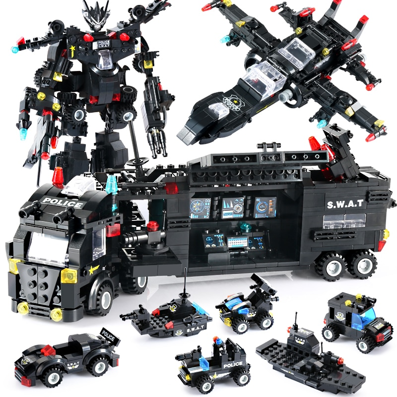 8 in 1 City Police Truck Building Blocks Vehicle Car Helicopter Police Station Blocks DIY Robot Figures Bricks Children lepin 02081 city police the coast guard head quarters building blocks boat helicopter sea exploration ship rescue 60167 brick