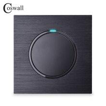 Coswall Luxe 1 Gang 1 Manier Willekeurige Klik Op/Off Muur Lichtschakelaar Met Led-Indicator Black Aluminium Metal panel